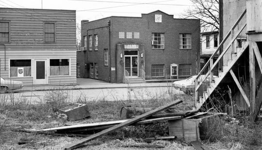 The Salvation Army's bulidings on North Seventh in 1974. The decrepit nature of the area was due to a massive urban renewal project that leveled the entire neighborhood.