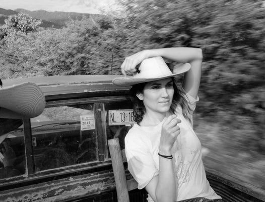 Lela Riding In Truck Bw
