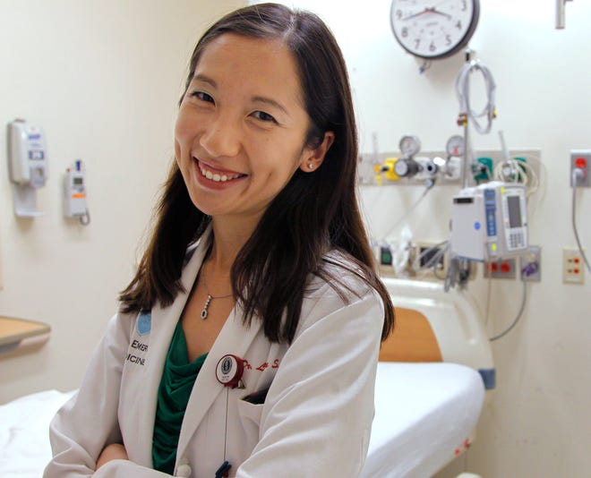 Dr. Leana Wen stands in the emergency department at Brigham and Women's Hospital in Boston, during her medical residency.