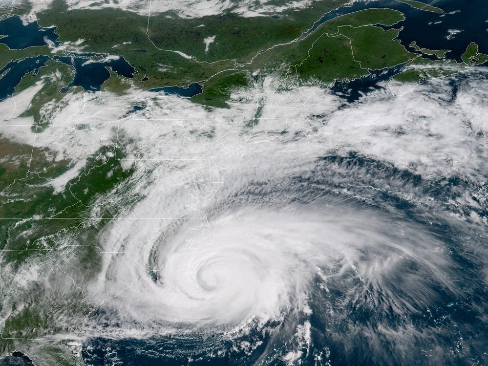A satellite image shows Hurricane Florence spinning off the U.S. East Coast on Thursday, Sept. 13, 2018.