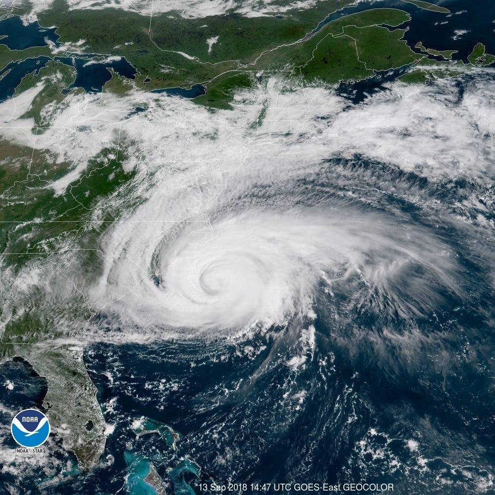 Hurricane Florence becoming a real-life Sharknado? Viral post is false.