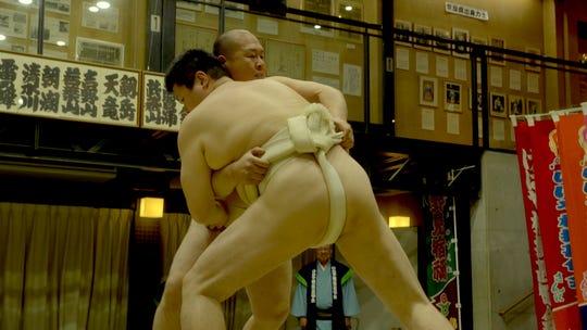 Sumo wrestlers demonstrate the ancient sport in Katsuragi City, Japan.