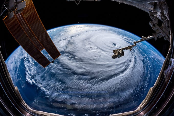 A handout photo made available by European Space Agency (ESA) astronaut Alexander Gerst shows Hurricane Florence as seen from the International Space Station (ISS) on on Sept. 12, 2018