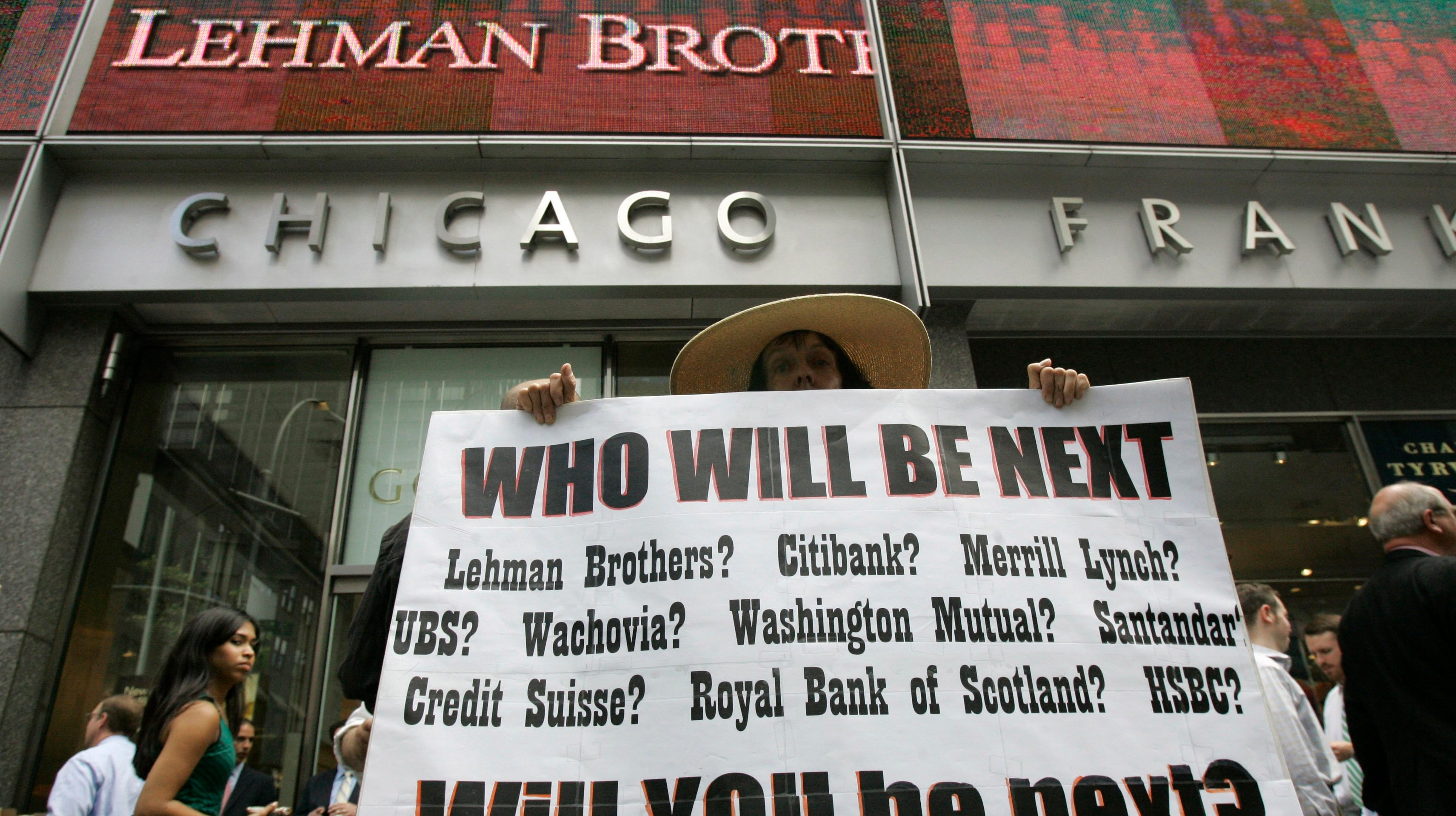 Protest in front of Lehman Bros. on Sept. 15, 2008, in New York.