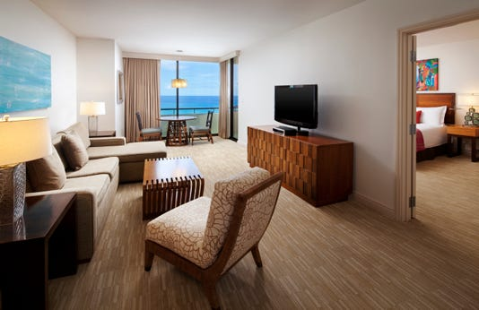 A look at a tower of Mailani Oceanfront Suite Credit The Royal Hawaiian A Luxury Collection Resort