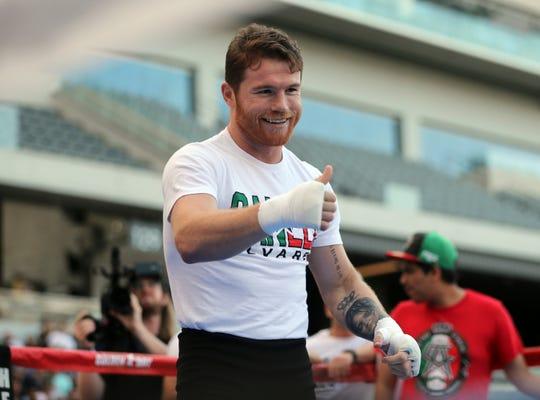 Canelo Alvarez appears at a public workout at Banc of California Stadium in Los Angeles on Aug. 26.