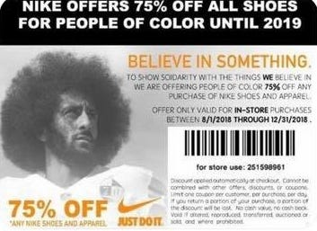 Bogus Nike coupons featuring Colin Kaepernick have circulated online over the last several days.