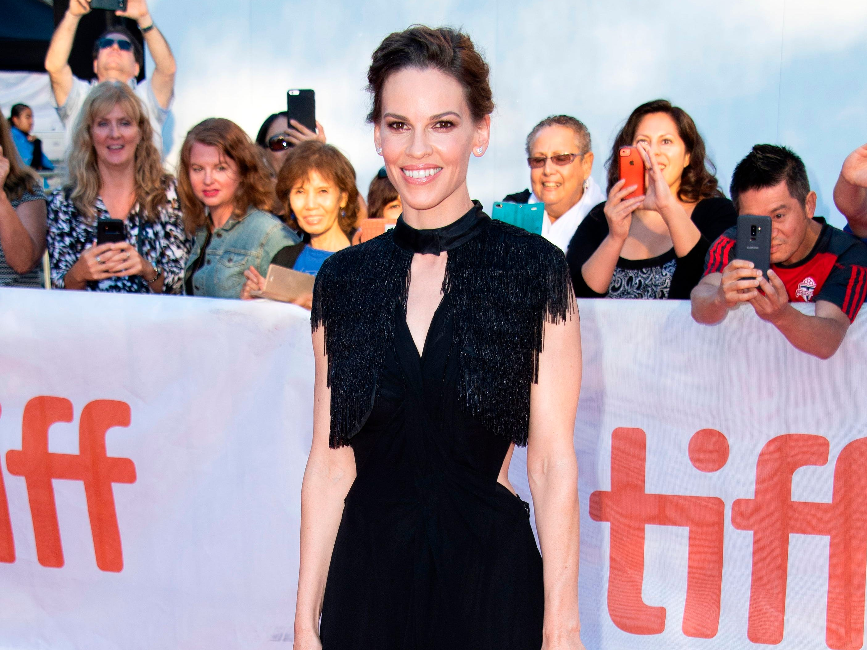 US actress Hilary Swank attends the Premiere of 'What They Had' during the Toronto International Film Festival, on September 12, 2018, in Toronto, Ontario, Canada. (Photo by VALERIE MACON / AFP)VALERIE MACON/AFP/Getty Images ORIG FILE ID: AFP_1921VZ