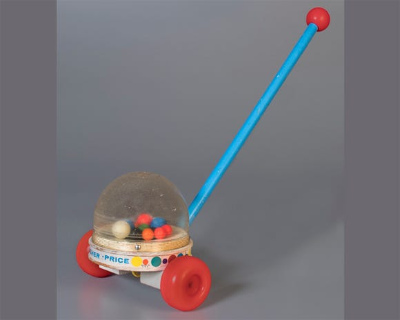 The Fisher-Price Corn Popper is known for its distinct sound and its bright, flying balls.