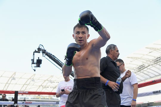 "Gennady ""GGG"" Golovkin poses at Banc of California Stadium in Los Angeles on Aug. 26."