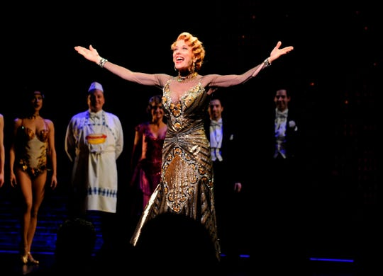 """Marin Mazzie on stage in April 2014 for the opening night of """"Bullets Over Broadway"""" in New York."""
