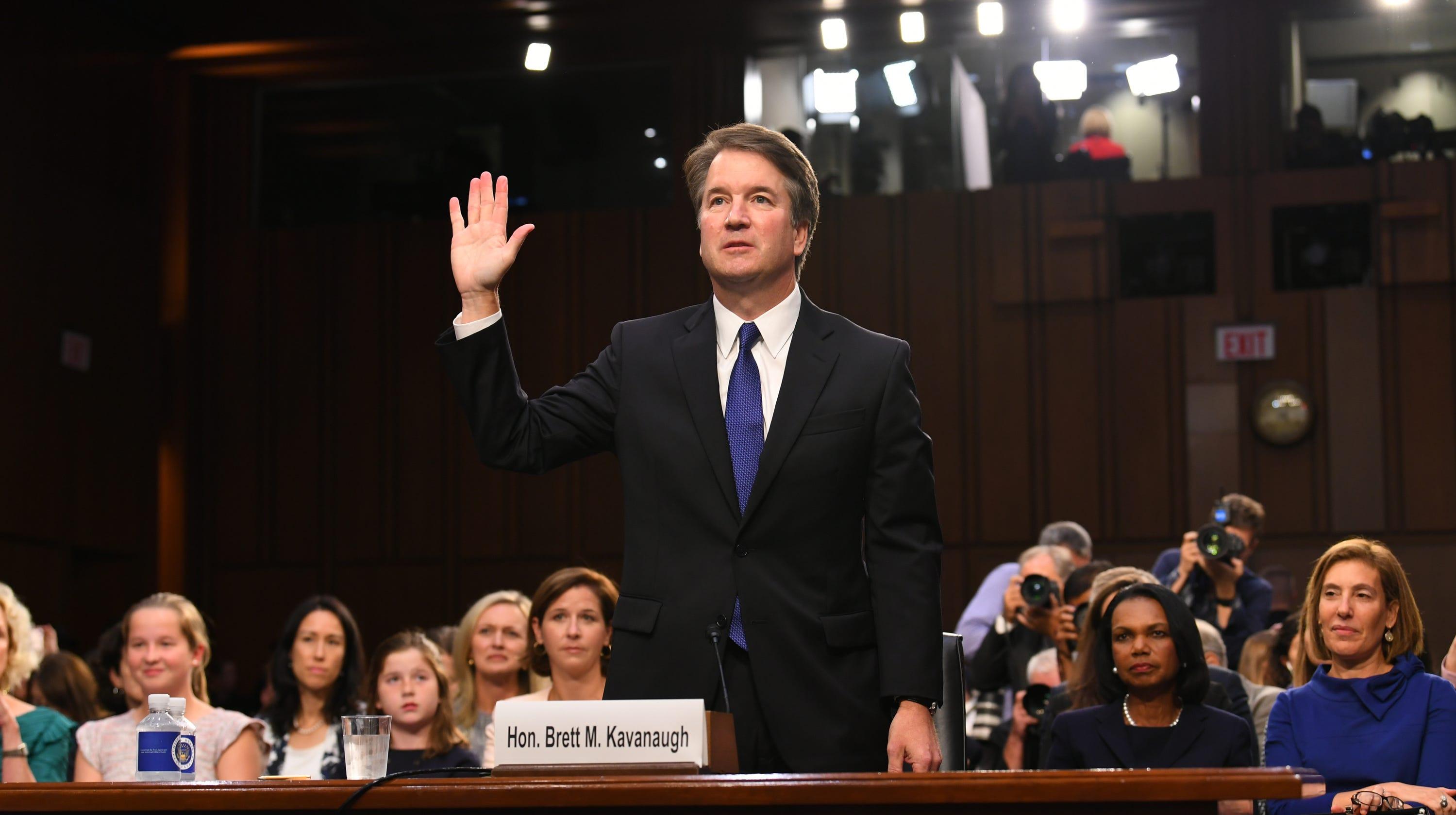 Supreme Court nominee Brett Kavanaugh is sworn in before the Senate Judiciary Committee last week.