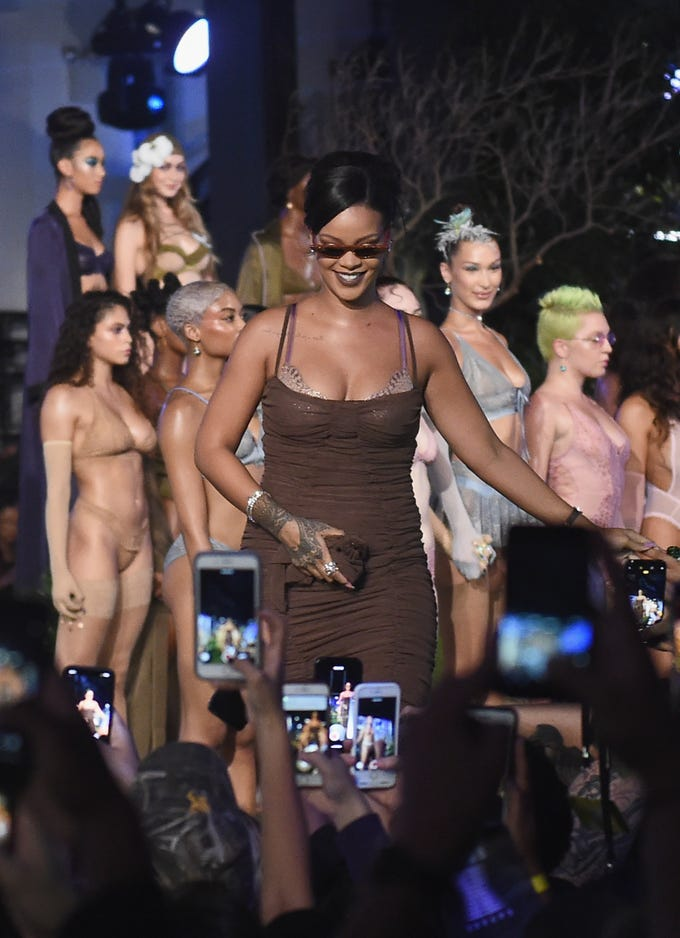 Rihanna and lingerie maker Savage gave the Victoria's Secret Fashion Show a run for its money Wednesday, showing off their Savage X Fenty line at the Booklyn Navy Yard, one of the last big shows at New York Fashion Week. Here, Rihanna takes a victory lap.