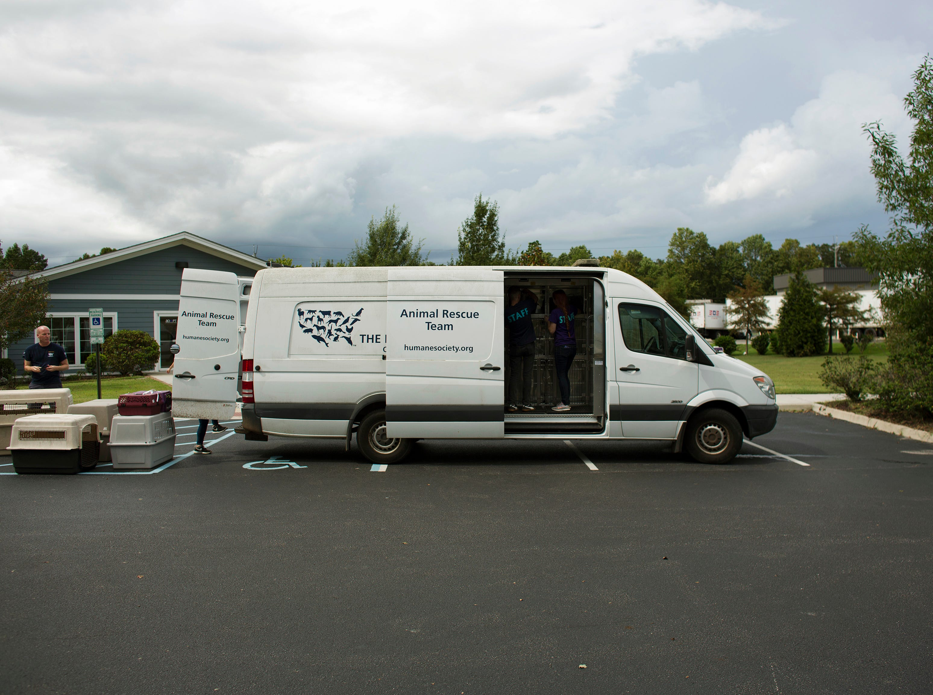 The Humane Society of the United States, Animal Rescue Team relocates cats and dogs from the Portsmouth Humane Society in preparation of Hurricane Florence, in Portsmouth, Va.