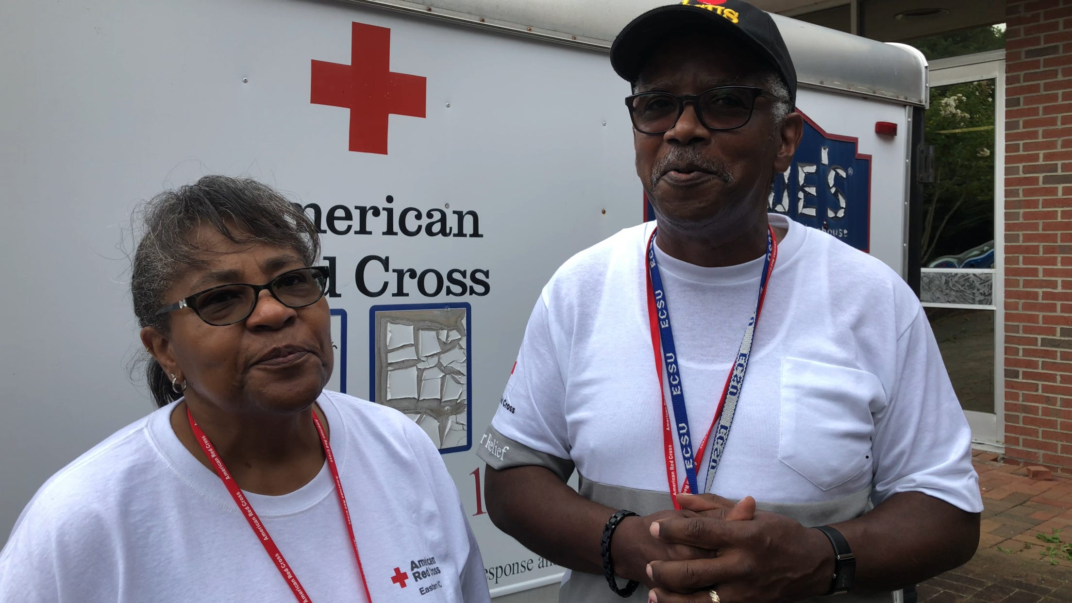 Beverly and Reginald Riddick are manning a Red Cross shelter in Elizabeth City, N.C.