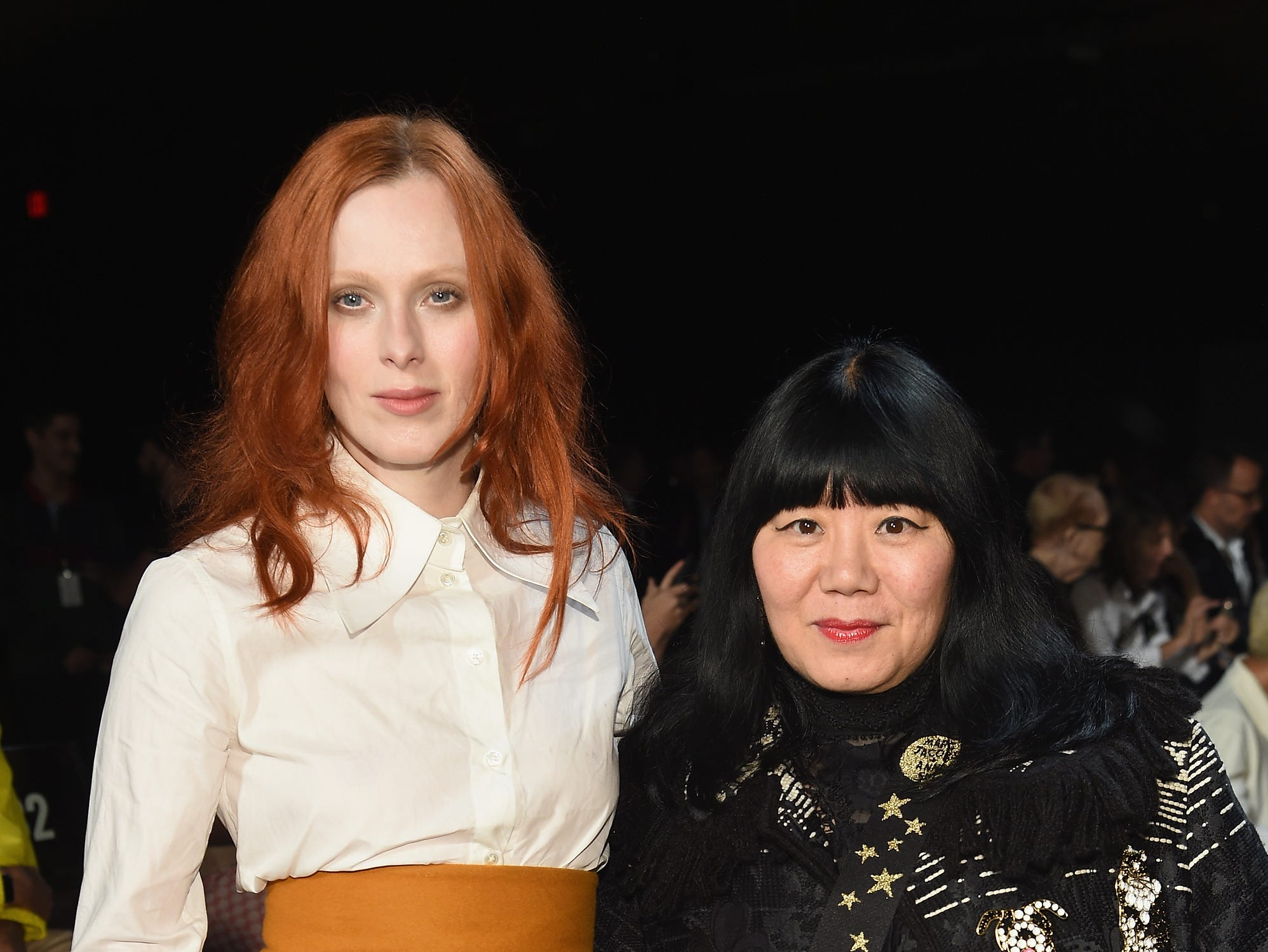 NEW YORK, NY - SEPTEMBER 12: Karen Elson and Anna Sui attend the Marc Jacobs Spring 2019 Runway Front Row during New York Fashion Week: The Shows  at Park Avenue Armory on September 12, 2018 in New York City.  (Photo by Dimitrios Kambouris/Getty Images for Marc Jacobs) ORG XMIT: 775216977 ORIG FILE ID: 1032345998