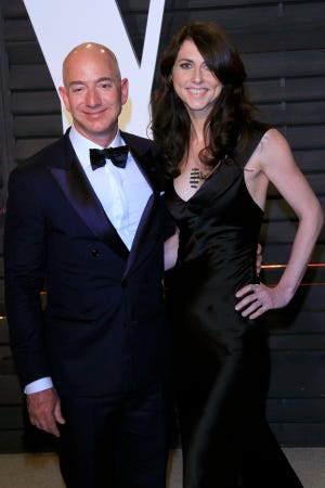 Amazon founder Jeff Bezos and wife MacKenzie Bezos arriving for the 2017 Vanity Fair Oscar Party following the 89th annual Academy Awards ceremony in Beverly Hills, California, USA, 26 February 2017.