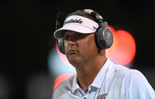 Westside head coach Scott Earley coaches against Easley Thursday, September 13, 2018 at Westside High in Anderson.