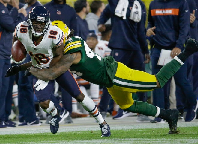 Chicago Bears' Taylor Gabriel is tackled by Green Bay Packers' Antonio Morrison after catching a pass during the first half Sunday, Sept. 9, 2018, in Green Bay. Gabriel had his first 100-plus yard receiving game of 2018 against Tampa Bay on Sunday.