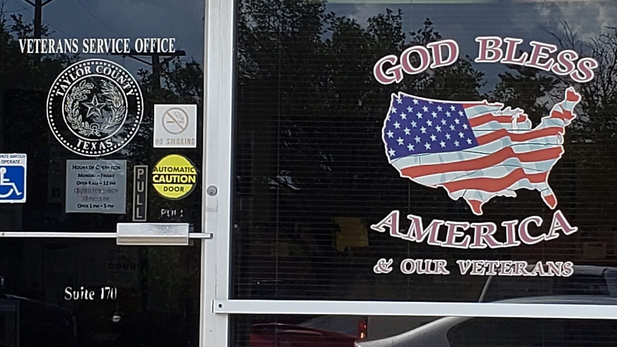 A Wisconsin-based organization has written Taylor County about religious symbols, such as this one on the Veterans Service Office window.