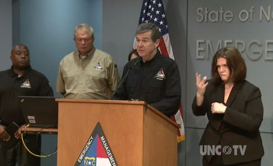 Gov. Roy Cooper gives an update hours after the eye of Hurricane Florence made landfall in North Carolina on Friday, Sept. 14, 2018.