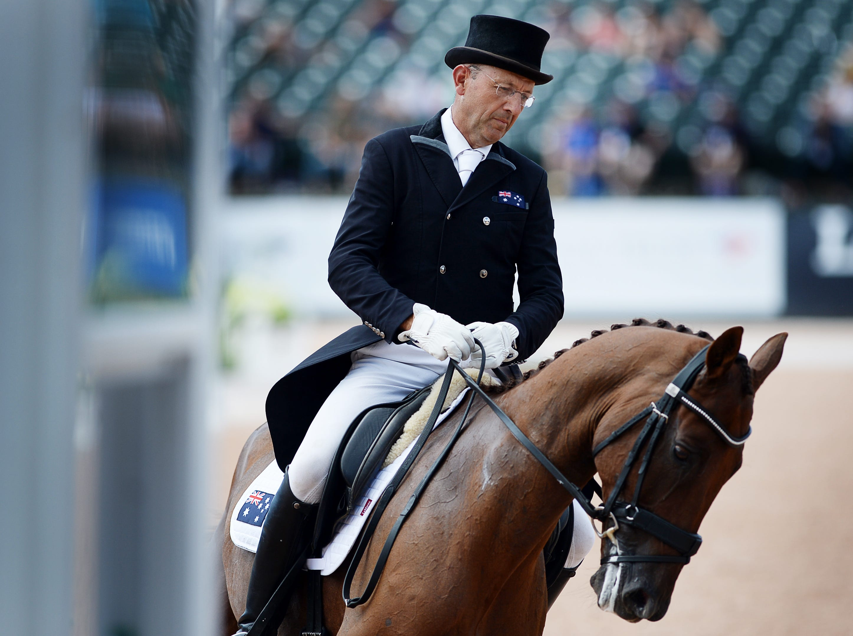 Australia's William Levett rides Lassban Diamond Lift in the dressage portion of the eventing competition at the World Equestrian Games in Tryon Sept. 14, 2018.