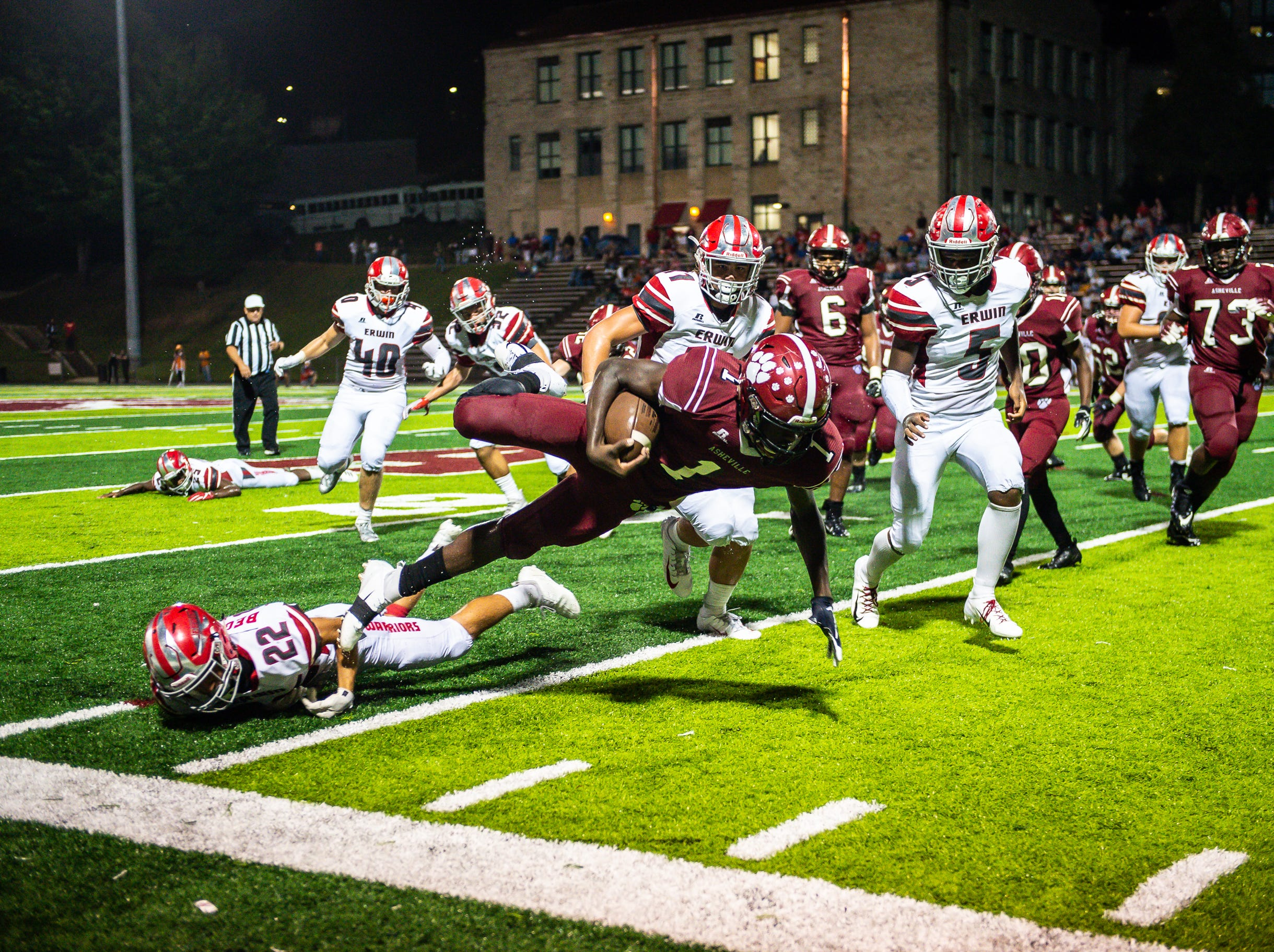 Erwin defeated Asheville High 32-27 in a high school football game Sept. 13, 2018, at Asheville High's Memorial Stadium.
