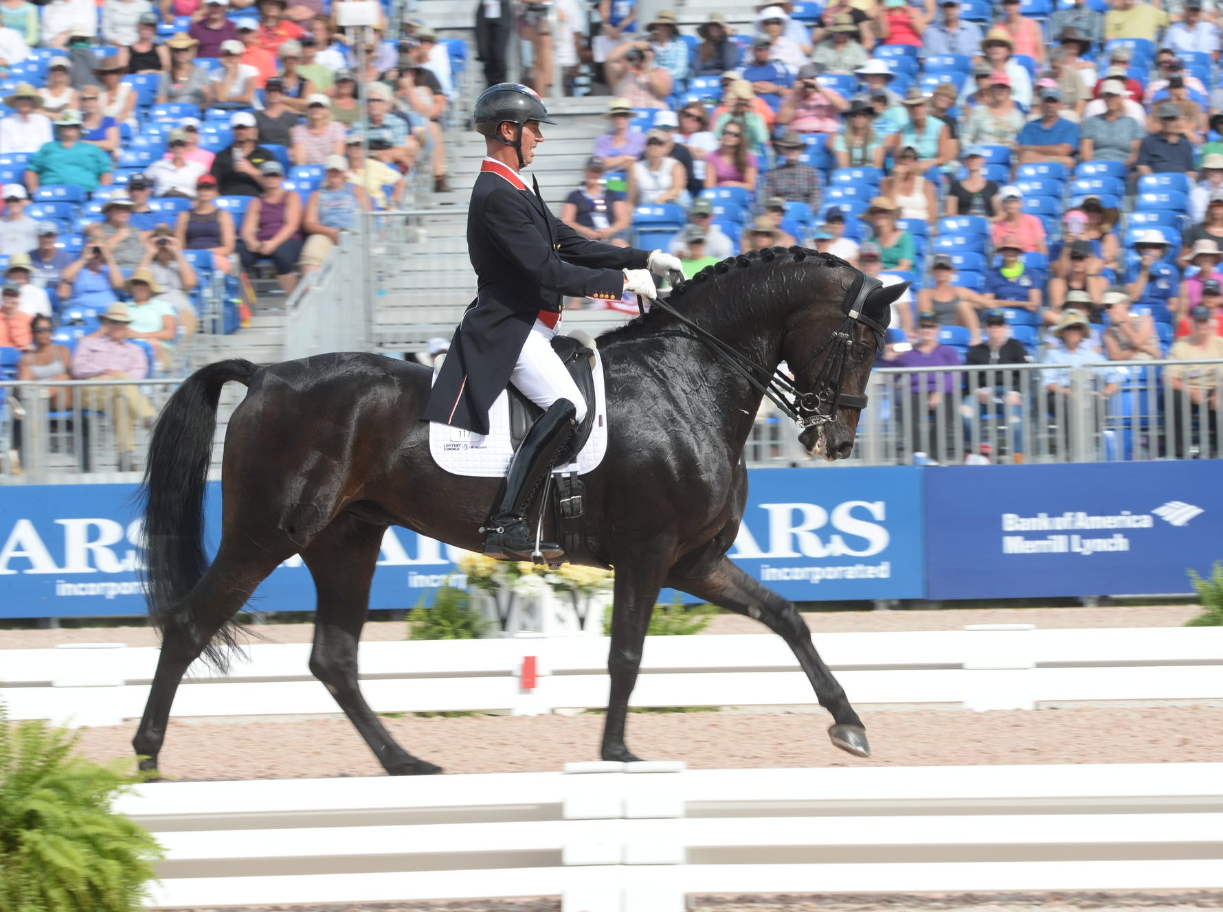 Great Bristain's Carl Hester rides Hawtins Delicato in the dressage competition at the World Equestrian Games in Tryon Sept. 14, 2018.