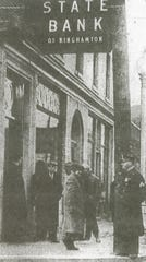 Police and auditors attend to the failed State Bank of Binghamton in 1930.