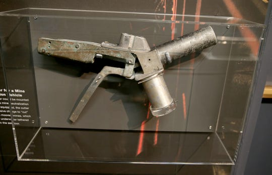 A cable cutter for a mine neutralization vehicle is part of the new undersea vehicles exhibit at Keyport's Naval Undersea Museum.