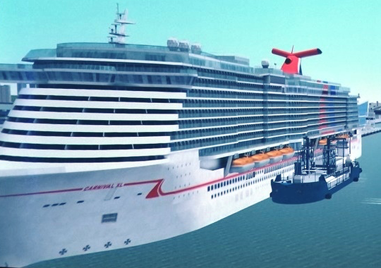 This artist's rendering depicts a barge fueling the new Carnival Cruise Line ship with liquefied natural gas.
