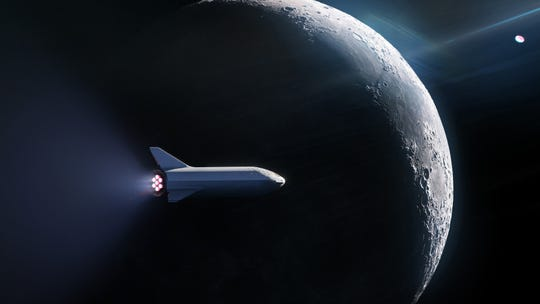 A rendering of SpaceX's Big Falcon Rocket crew vehicle traveling around the moon.