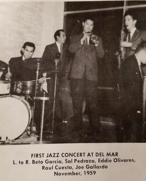 The Texas Jazz Festival traces its origin to a performance at Del Mar College in 1959 by a band consisting of (from left) Beto Garcia, Sal Pedraza, Eddie Olivares, Paul Cuesta and Joe Gallardo.