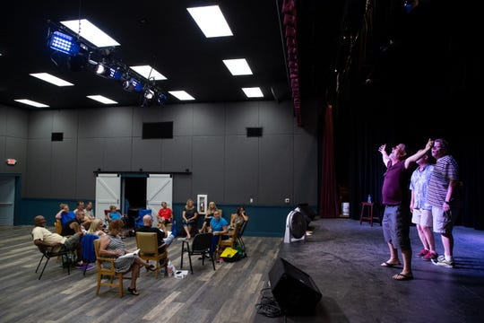 "Cast members of the Port Aransas Community Theatre's ""Full Monty"" production watch during rehearsal on Wednesday, Aug. 29, 2018."