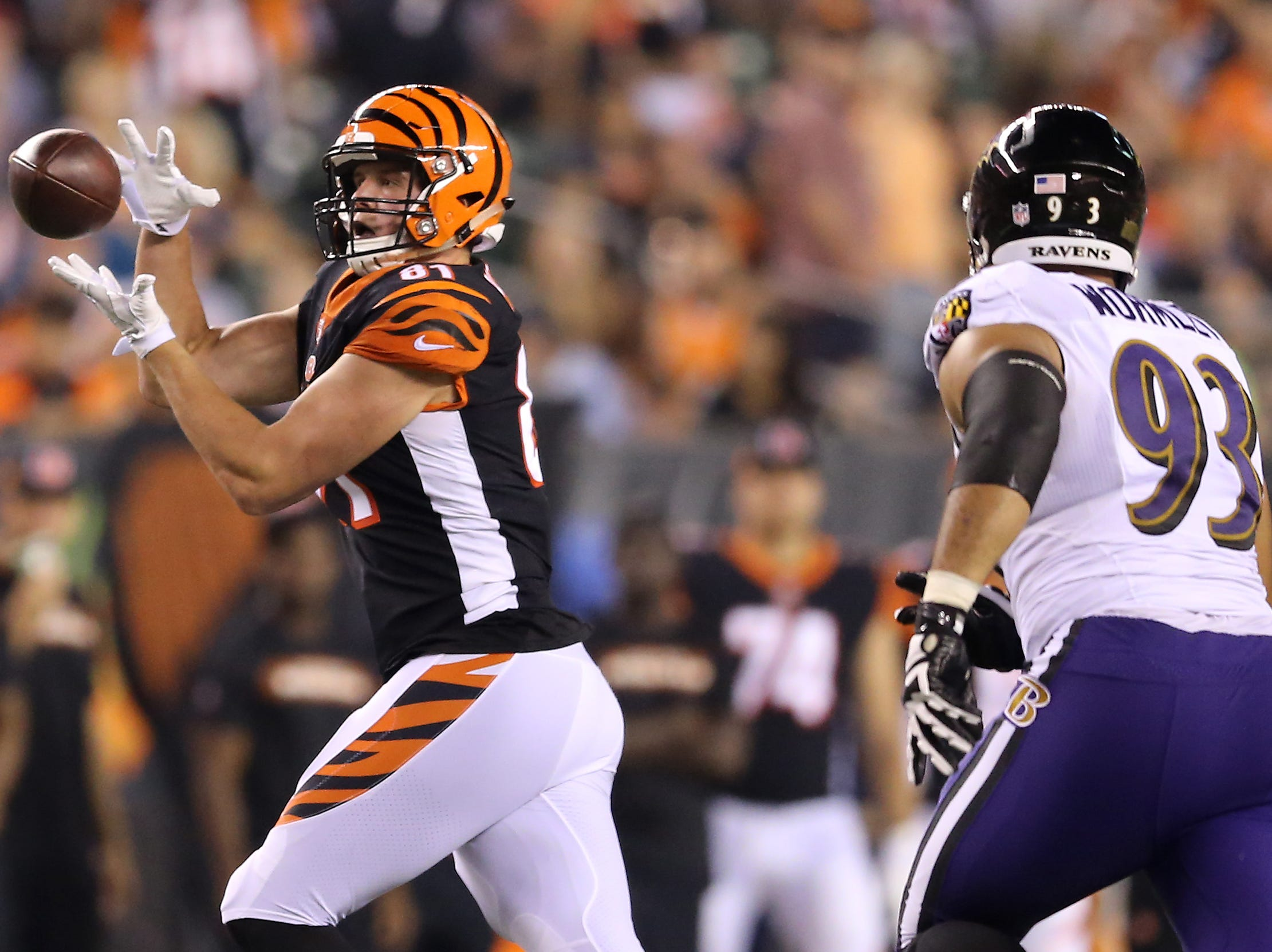 Cincinnati Bengals tight end Tyler Kroft (81) catches a pass in the third quarter during the Week 2 NFL football game between the Baltimore Ravens and the Cincinnati Bengals, Friday, Sept. 14, 2018, Paul Brown Stadium in Cincinnati. Cincinnati won 34-23.