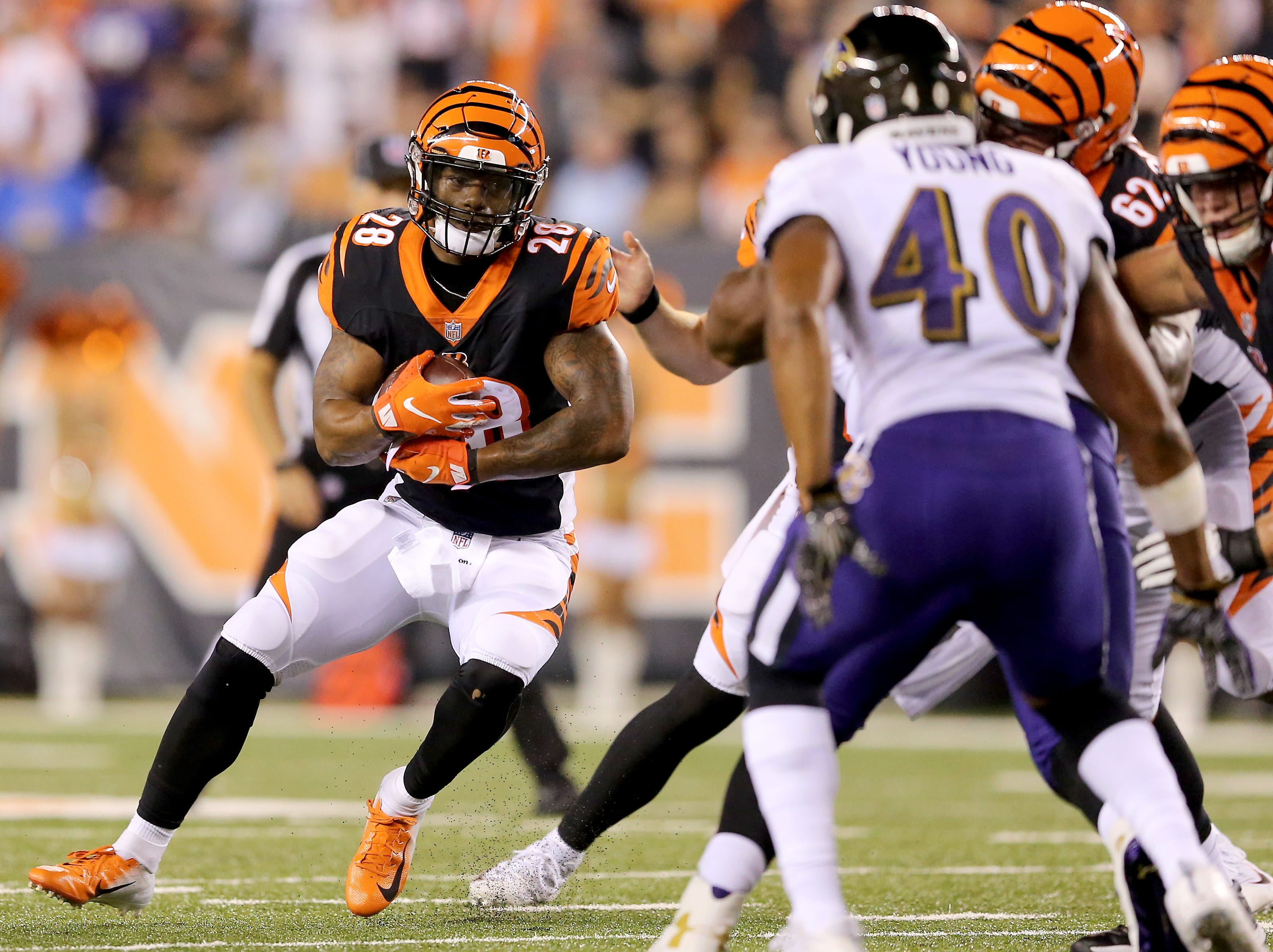 Cincinnati Bengals running back Joe Mixon (28) carries the ball in the first quarter during the Week 2 NFL football game between the Baltimore Ravens and the Cincinnati Bengals, Thursday, Sept. 13, 2018, Paul Brown Stadium in Cincinnati.