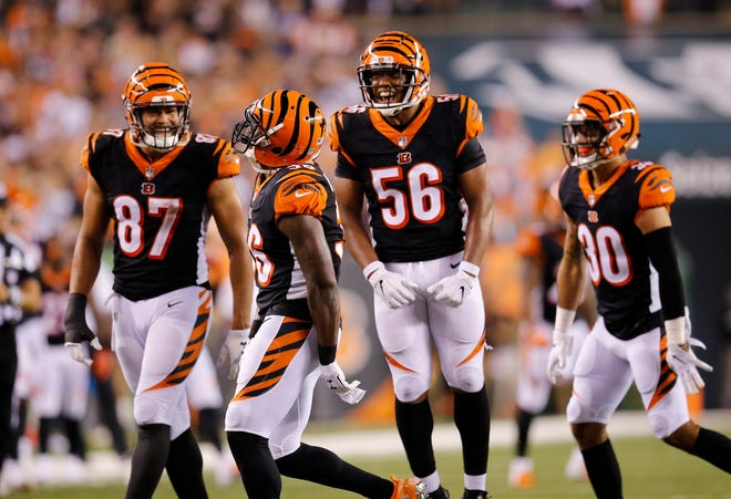 The Cincinnati Bengals defense celebrates after a defensive back Shawn Williams (36) strip-sack in the fourth quarter of the NFL Week 2 game between the Cincinnati Bengals and the Baltimore Ravens at Paul Brown Stadium in downtown Cincinnati on Thursday, Sept. 13, 2018. The Bengals improved to 2-0 on the season with a 34-23 win over the Ravens.