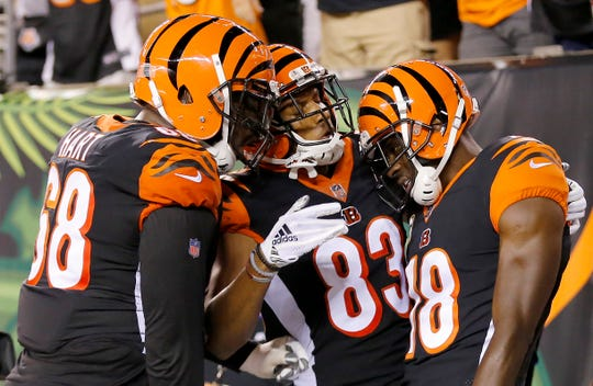 Cincinnati Bengals wide receiver A.J. Green (18) celebrates his second touchdown of the game in the first quarter of the NFL Week 2 game between the Cincinnati Bengals and the Baltimore Ravens at Paul Brown Stadium in downtown Cincinnati on Thursday, Sept. 13, 2018. The Bengals led 28-14 at halftime.