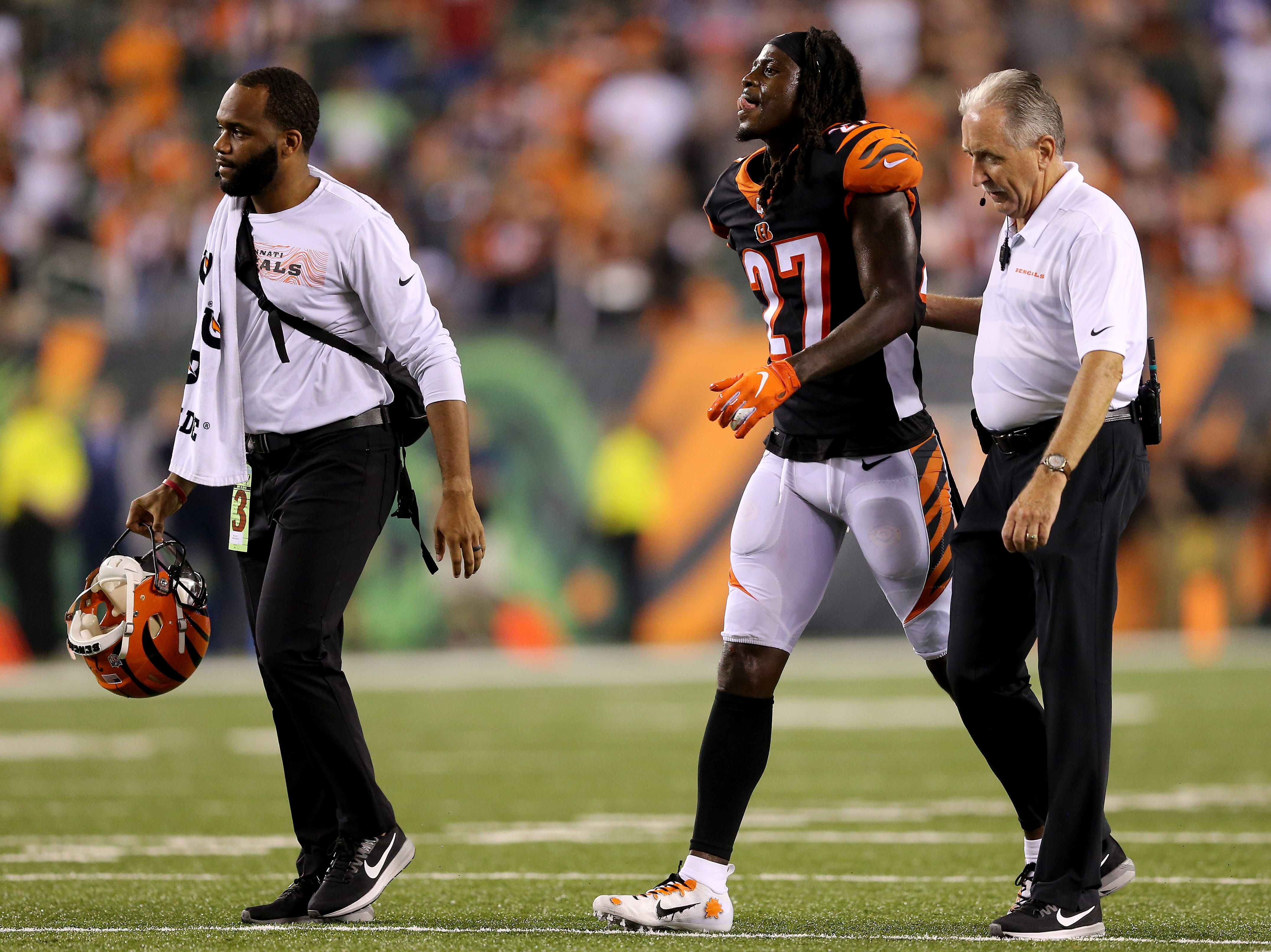 Cincinnati Bengals defensive back Dre Kirkpatrick (27) walks off the field after suffering an injury in the fourth quarter during the Week 2 NFL football game between the Baltimore Ravens and the Cincinnati Bengals, Friday, Sept. 14, 2018, Paul Brown Stadium in Cincinnati. Cincinnati won 34-23.