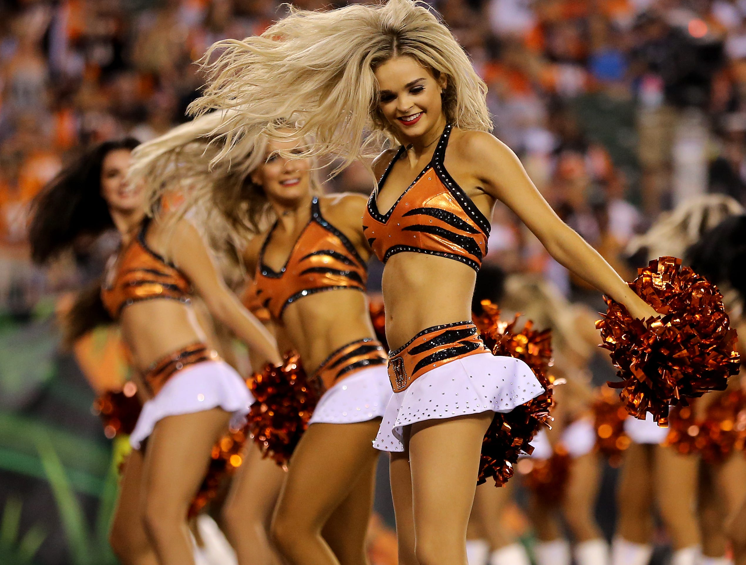 The Cincinnati Ben-Gals perform between the first and second quarters during the Week 2 NFL football game between the Baltimore Ravens and the Cincinnati Bengals, Thursday, Sept. 13, 2018, Paul Brown Stadium in Cincinnati.