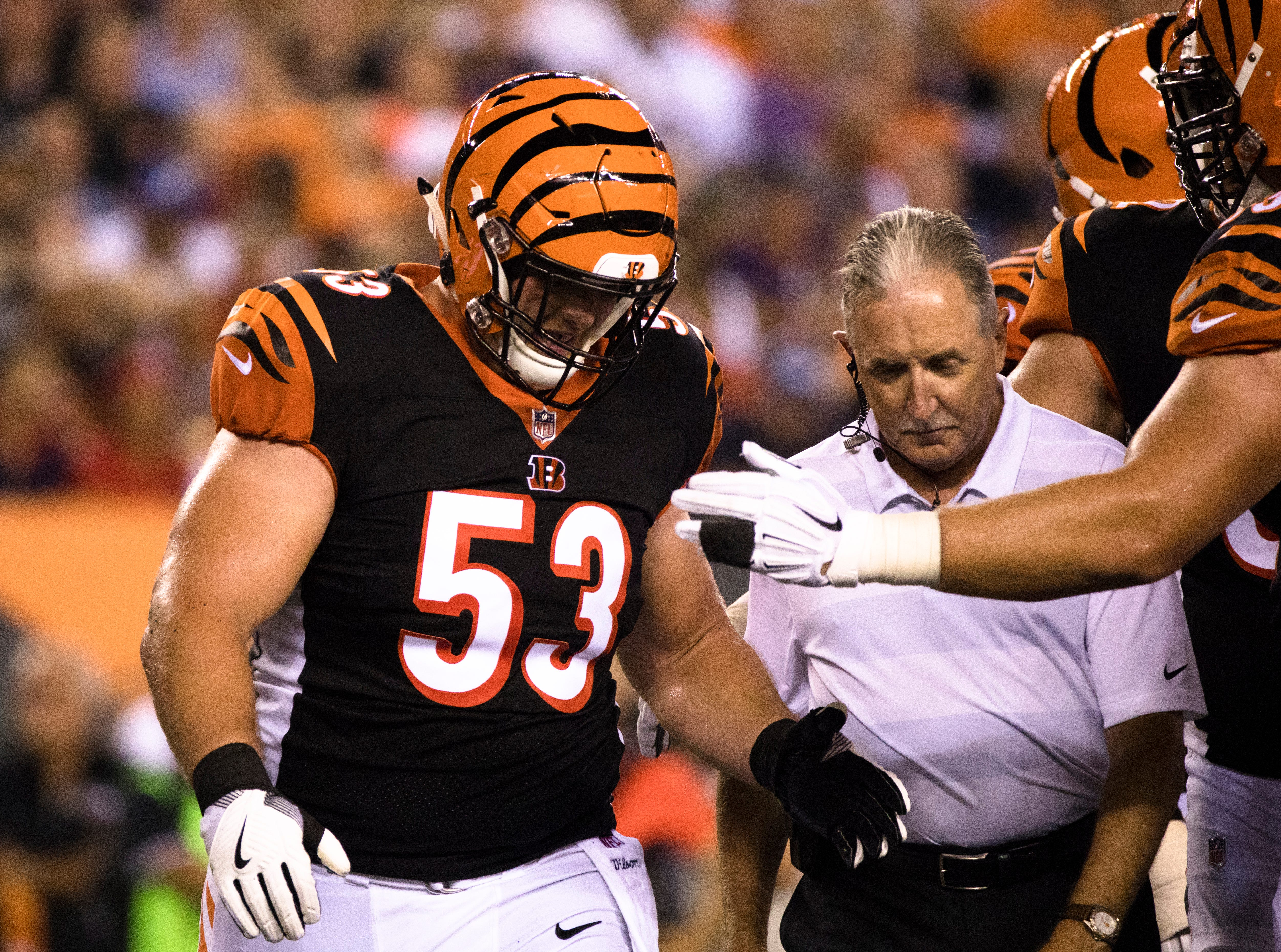 Cincinnati Bengals center Billy Price (53) walks off the field due to an injury during the Week 2 NFL game between the Cincinnati Bengals and the Baltimore Ravens, Thursday, Sept. 13, 2018, at Paul Brown Stadium in Cincinnati.