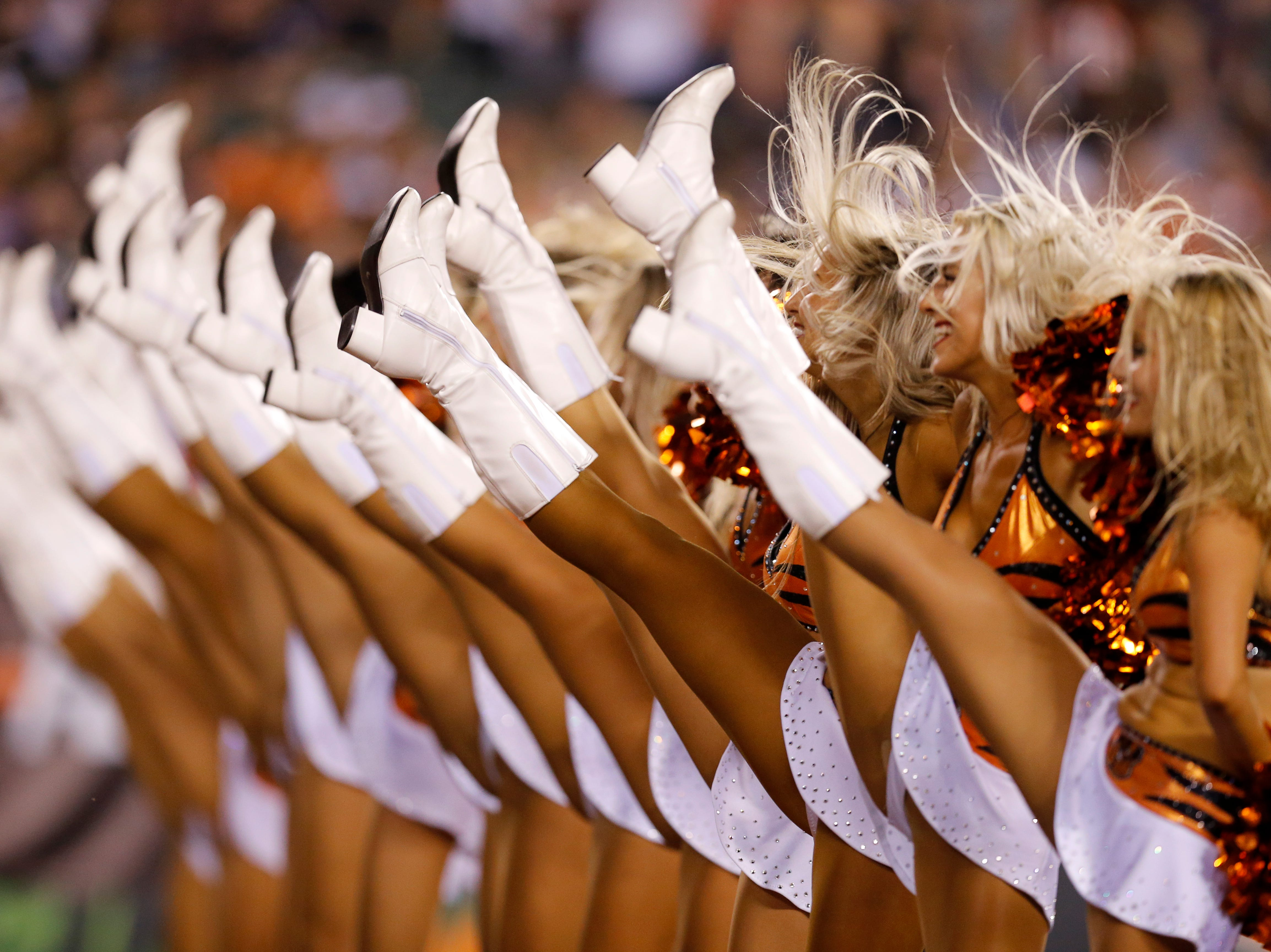 The Ben-Gals cheerleaders perform between the third and fourth quarters of the NFL Week 2 game between the Cincinnati Bengals and the Baltimore Ravens at Paul Brown Stadium in downtown Cincinnati on Thursday, Sept. 13, 2018. The Bengals improved to 2-0 on the season with a 34-23 win over the Ravens.