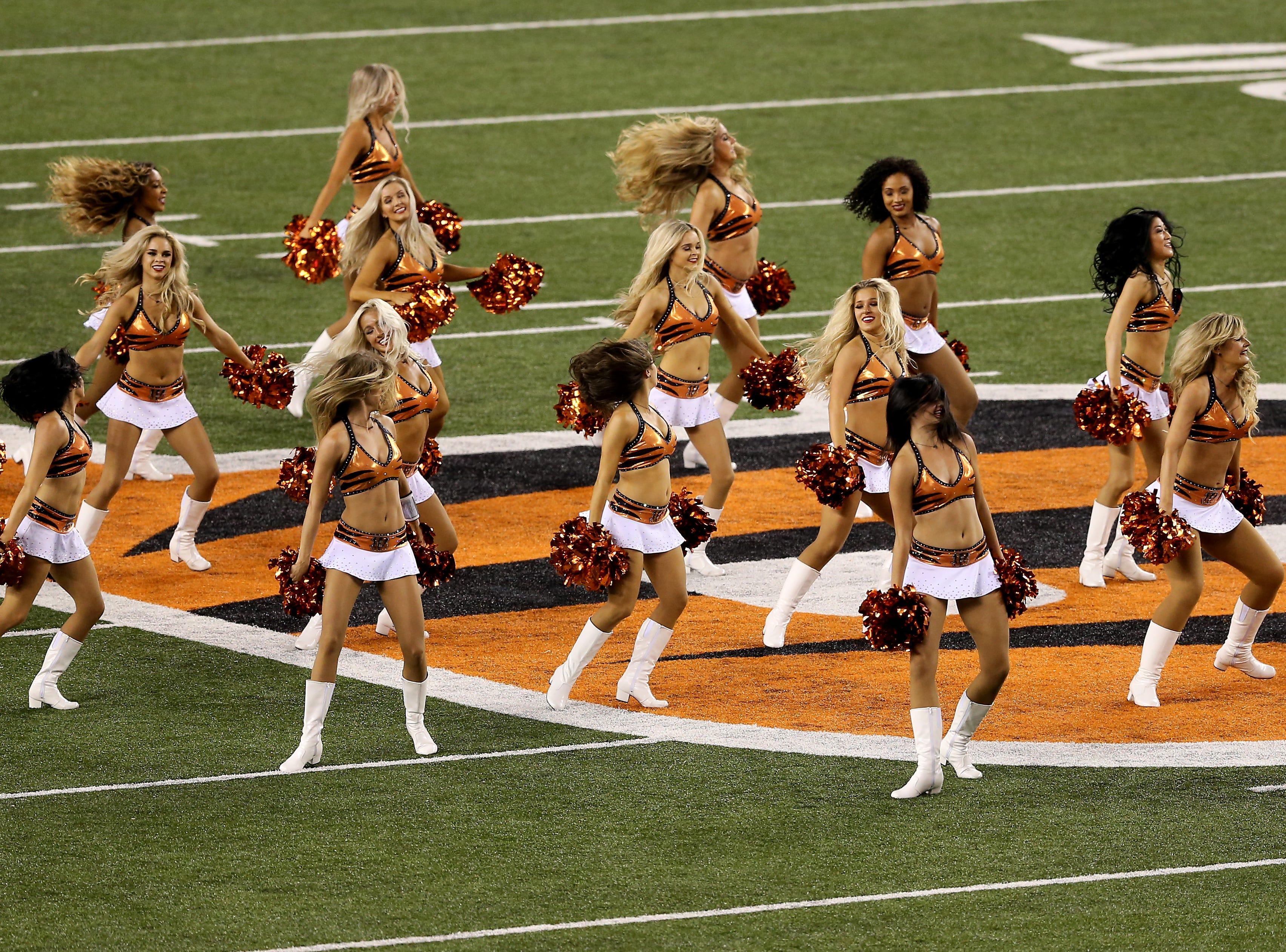 The Cincinnati Ben-Gals perform before the Week 2 NFL football game between the Baltimore Ravens and the Cincinnati Bengals, Thursday, Sept. 13, 2018, Paul Brown Stadium in Cincinnati.