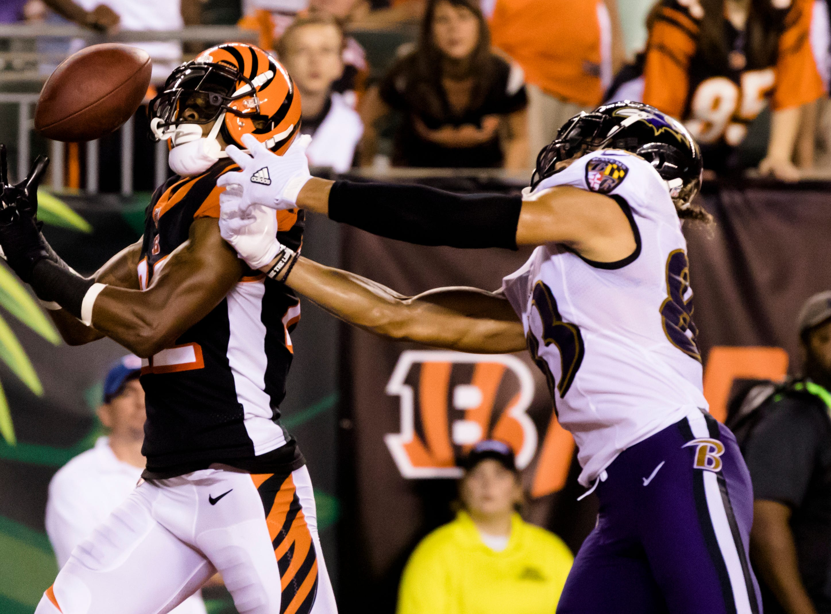 Cincinnati Bengals cornerback William Jackson (22) attempts to intercept a pass intended for Baltimore Ravens wide receiver Willie Snead (83) during the Week 2 NFL game between the Cincinnati Bengals and the Baltimore Ravens, Thursday, Sept. 13, 2018, at Paul Brown Stadium in Cincinnati.