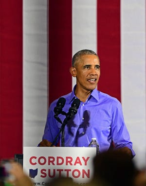 Former President Barack Obama speaks as he campaigns in support of Ohio gubernatorial candidate Richard Cordray, Thursday, Sept. 13, 2018, in Cleveland.