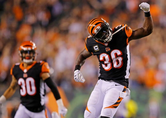 Cincinnati Bengals defensive back Shawn Williams (36) celebrates after a tallying a sack fumble in the fourth quarter of the NFL Week 2 game between the Cincinnati Bengals and the Baltimore Ravens at Paul Brown Stadium in downtown Cincinnati on Thursday, Sept. 13, 2018. The Bengals improved to 2-0 on the season with a 34-23 win over the Ravens.