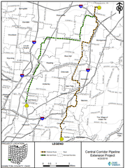 Duke Energy has proposed two routes for its pipeline. The preferred route for the company is in orange, with an alternate route shown in green.
