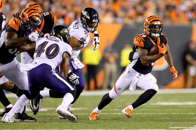 Cincinnati Bengals running back Joe Mixon (28) carries the ball in the second quarter during the Week 2 NFL football game between the Baltimore Ravens and the Cincinnati Bengals, Thursday, Sept. 13, 2018, Paul Brown Stadium in Cincinnati.