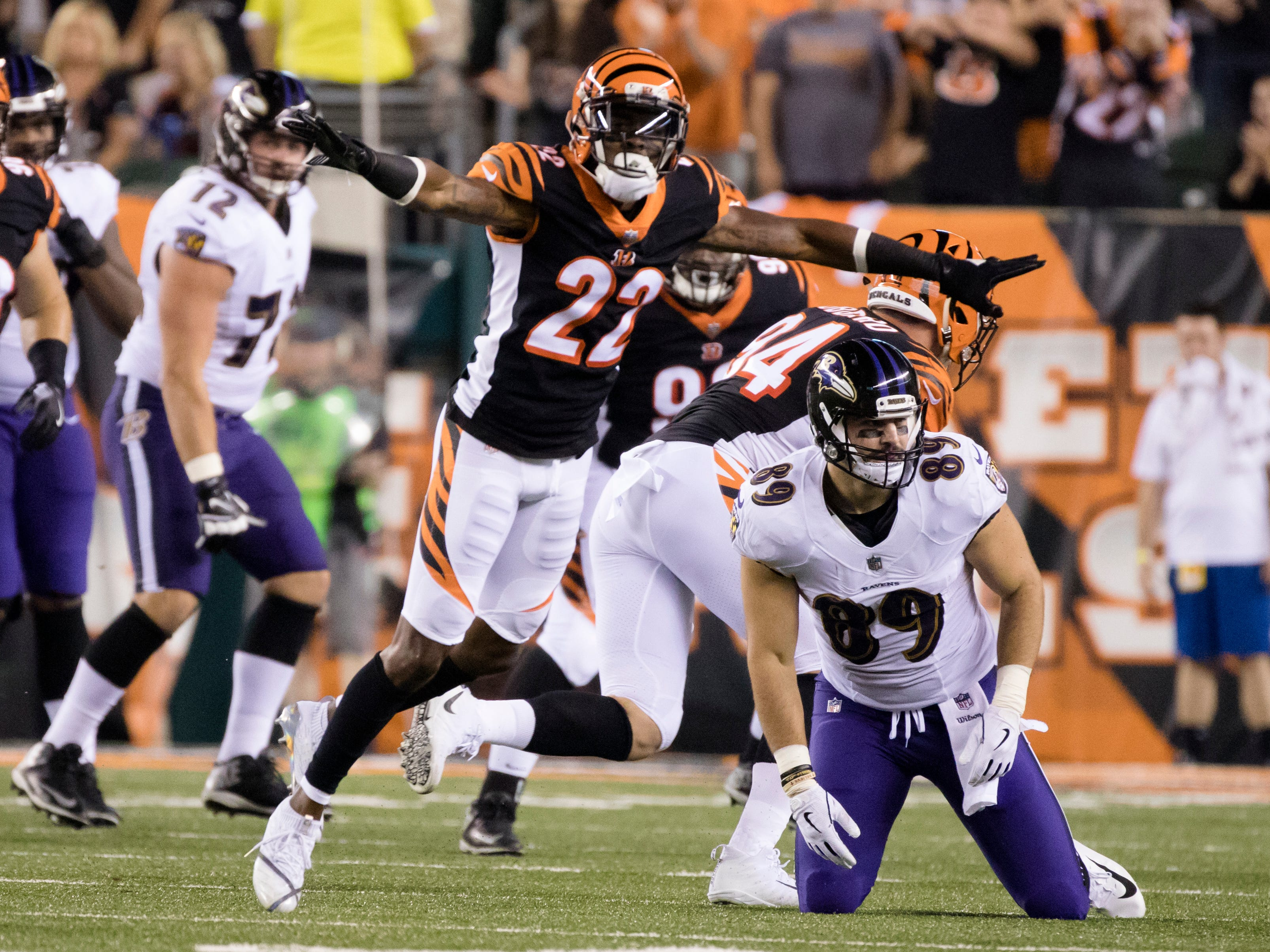 Cincinnati Bengals cornerback William Jackson (22) celebrates after breaking up a pass intended for Baltimore Ravens tight end Mark Andrews (89) during the Week 2 NFL game between the Cincinnati Bengals and the Baltimore Ravens, Thursday, Sept. 13, 2018, at Paul Brown Stadium in Cincinnati.