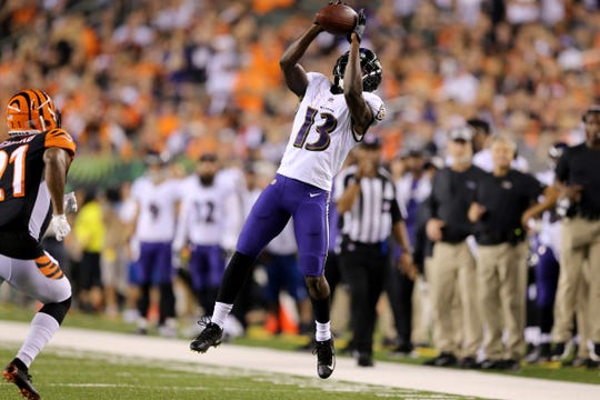 Baltimore Ravens wide receiver John Brown (13) catches a pass in the fourth quarter during the Week 2 NFL football game between the Baltimore Ravens and the Cincinnati Bengals, Friday, Sept. 14, 2018, Paul Brown Stadium in Cincinnati. Cincinnati won 34-23.